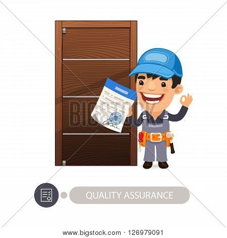 Worker and door quality assurance. Clipping paths included.