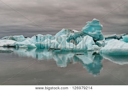 Blue iceberg at the Jokulsarlon glaciar lagoon in Iceland