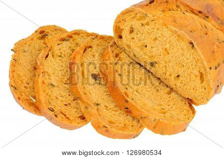 Chilli and cheese flavoured crusty bloomer loaf isolated on a white background