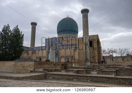 Gur Emir Mausoleum Of The Asian Conqueror Tamerlane (also Known As Timur) In Samarkand, Uzbekistan