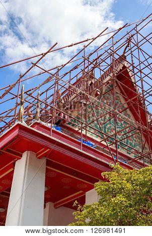 Buddhist Temple Renovation Bangkok Thailand. Closeup the facade of building