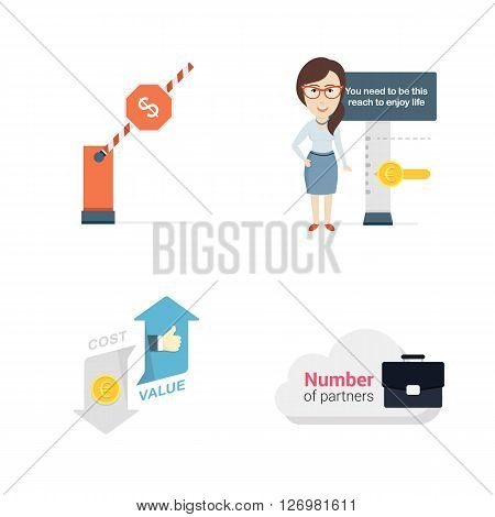 Set of Vector Flat Illustrations. Includes Conceptual Money Barriers, Woman, Handbag, Cost and Value Icon.