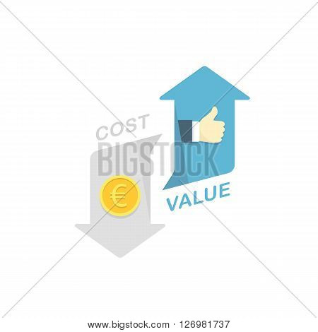 Conceptual Vector Flat Illustration Depicting Improvement of a Value for the Customers and Decreasing a Cost for Them.