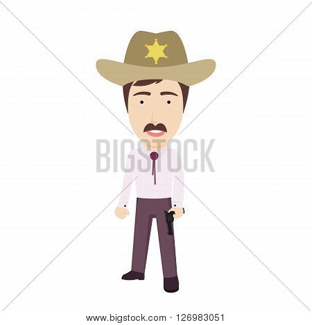 Vector Flat Illustration of a Sheriff in Hat