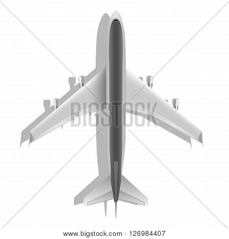 Realistic large passenger airplane top view isolated on white background. Design element plane. Illustration icon