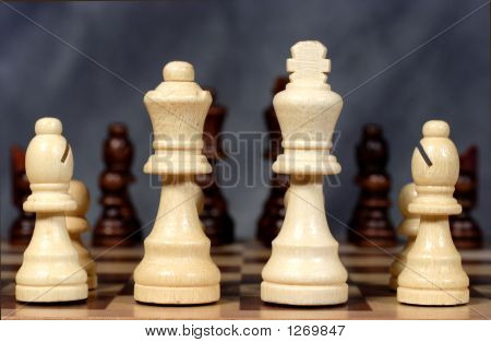 Chess Pieces Poised For Attack