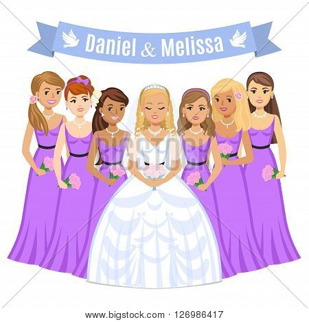 Happy bride. Beautiful bride with bridesmaids. Bride on their wedding day. Wedding vector illustration isolated on white background. Cute cartoon bride