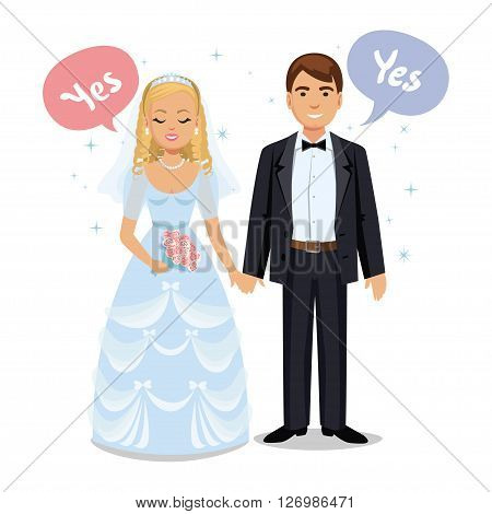 Happy wedding couple. Wedding couple say Yes. Bride and groom on their wedding day. Wedding couple vector illustration isolated on white background. Cute cartoon wedding couple
