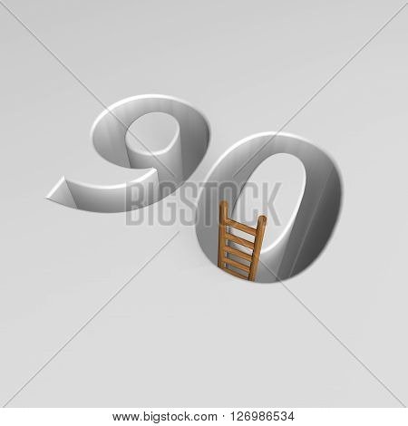 number ninety shape hole with ladder - 3d illustration