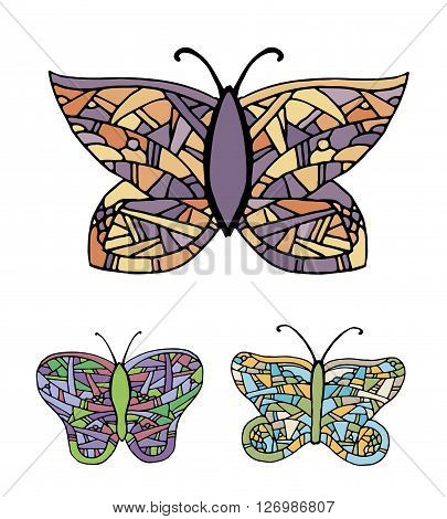 Collection of colorful butterflies. Hand drawn vector stock illustration
