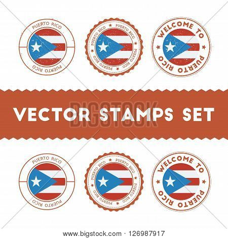 Puerto Rican Flag Rubber Stamps Set. National Flags Grunge Stamps. Country Round Badges Collection.