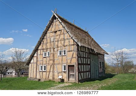 NEU ANSPACH, GERMANY - APRIL 18, 2016: Old half timbered house at the Hessenpark Open-Air Museum