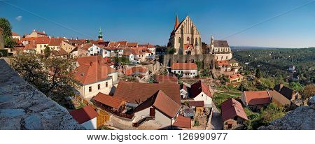 The historical center of the town of Znojmo - panoramic shot with the Church Of St. Nicholas and the chapel of St. Vaclav at sunset
