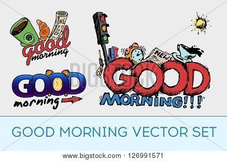 Good morning set. Colorful vector stock illustration