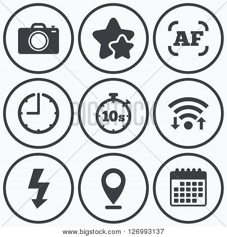 Clock, wifi and stars icons. Photo camera icon. Flash light and autofocus AF symbols. Stopwatch timer 10 seconds sign. Calendar symbol.