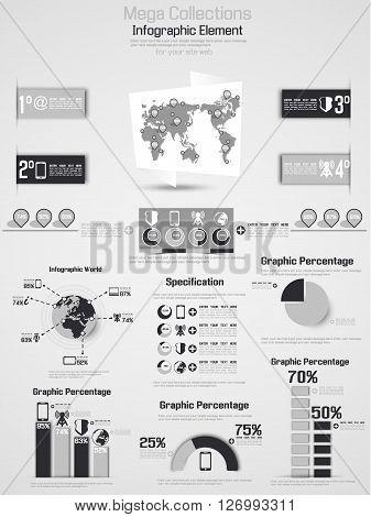 RETRO INFOGRAPHIC DEMOGRAPHIC WORLD MAP ELEMENTS 2 GREY