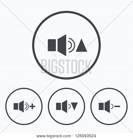 Player control icons. Sound louder and quieter signs. Dynamic symbol. Icons in circles.