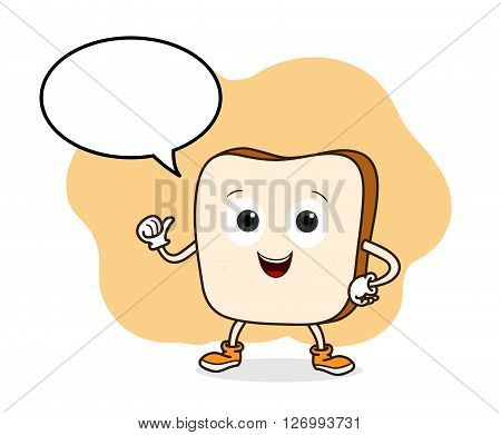 Bread Vector, a hand drawn vector illustration of a smiling bread with blank narration bubble (all objects are on separate groups for easy editing).