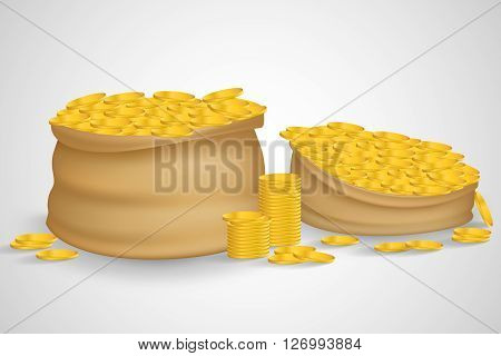 Bag of coins. Bag of money. Sack with full gold coins in it. Sack of coins. Gold coins. Sack full with gold coins. Isolated bag of coins. Sack of coins isolated on white background. Bag of money.