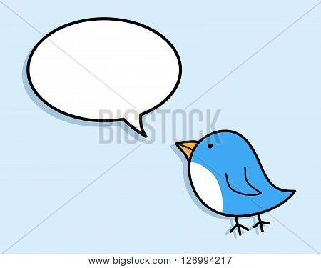 Blue Bird, a hand drawn vector illustration of a cute blue bird, isolated on a simple background (on separate group).