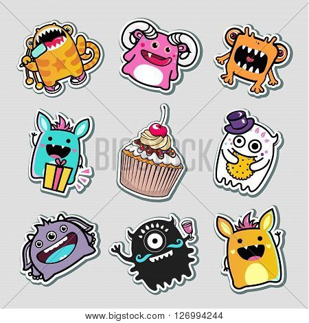 vector stickers monsters and food for kids