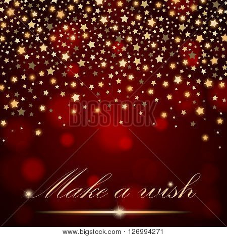 Vector Abstract Shining Falling Stars On Red Ambient Blurred Background. Luxury Design. Vector Illus
