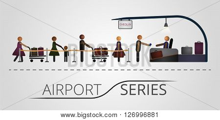 The people stand in a queue for the flight registration desk. Illustration includes icon of people and registration desk contruction. Airport series