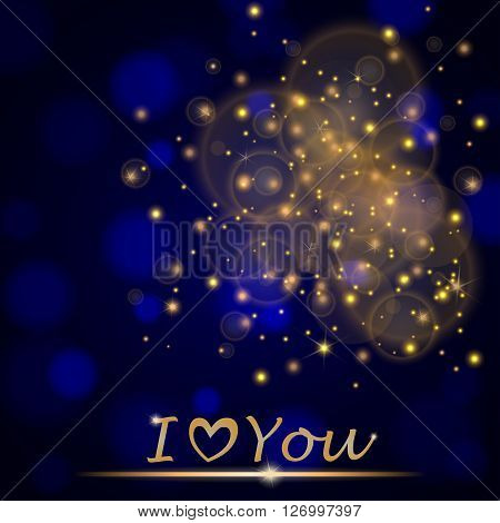 """Vector abstract shining falling stars on blue ambient blurred background """"I love You"""". Luxury design. Vector illustration poster"""