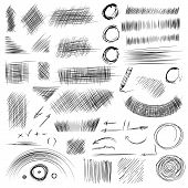 Pencil sketches.Hand drawn scribble shapes. A set of doodle line drawings. Vector design elements poster