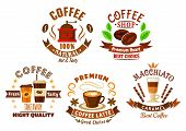 Natural premium coffee drinks in takeaway paper cups, latte and caramel macchiato beverages, coffee beans and vintage coffee mill, encircled by retro ribbon banners, anise seeds, stars and wafer tubes for coffee shop, cafe and restaurant design poster