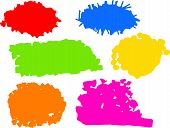 A set of different coloured random splatterings of paint or ink. poster