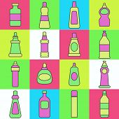 Lineart washing agents vector illustration. Different cleaning agents. poster