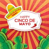 Mexican sombrero hat succulents and red chili pepper jalapeno. Mexico Carnival. Orange background with cactus. Vector illustration. poster