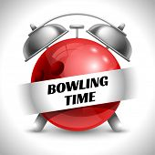 Bowling Time. Concept on Sport Bowling Theme. Time to Play Sports. Time to Watch Bowling Tournament. Time To Play Bowling. Vector Illustration. Isolated On White background. poster