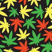 Marihuana ganja weed seamless vector pattern rasta poster