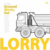 Outline typography set with lorry. Outlined truck. Construction machinery vehicle. Construction equipment for building. Nice ground works typography page. poster