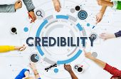Credibility Trustworthy Integrity Likelihood Dependability Concept poster