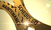 Golden Metallic Cogwheels with Scheduled Maintenance Concept. Scheduled Maintenance on the Golden Metallic Gears. Scheduled Maintenance on the Mechanism of Golden Gears with Glow Effect. 3D. poster