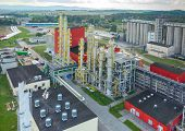 Aerial view on the modern biofuel factory poster