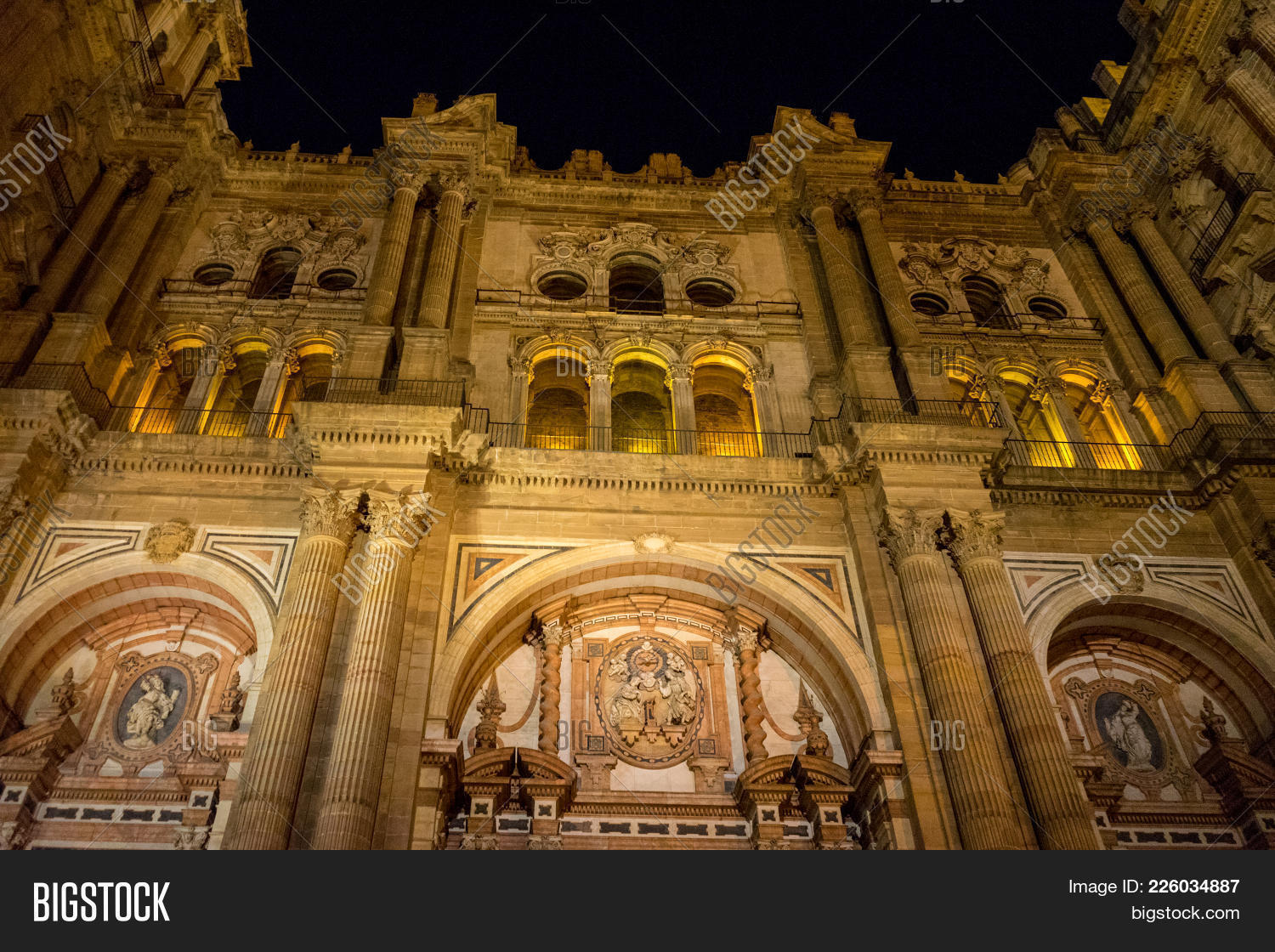 Baroque Design Of The Main Doors To The Malaga Cathedral In Malaga Andalusia Spain & Baroque Design Main Doors Malaga Image u0026 Photo | Bigstock