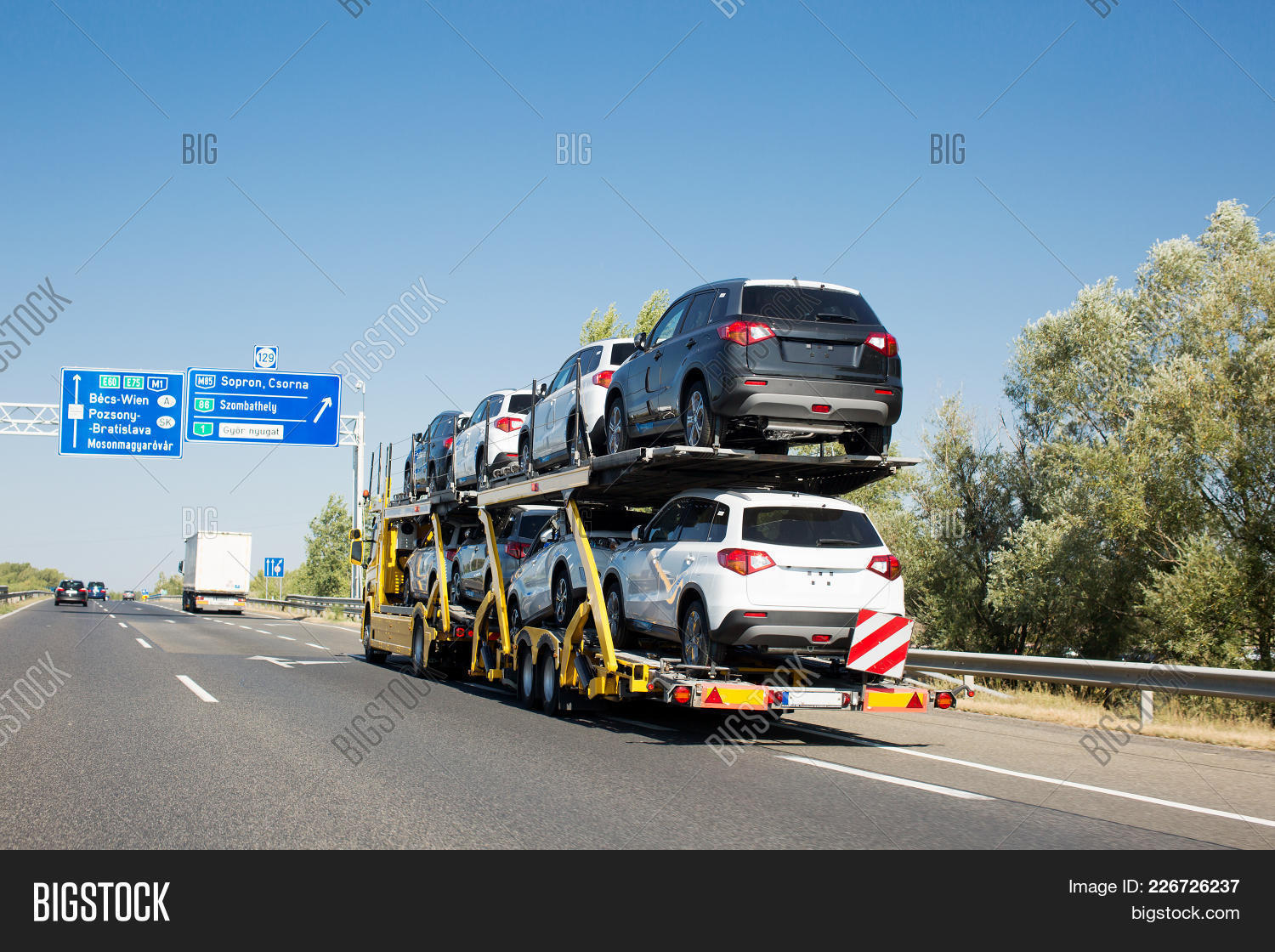 Big Car Carrier Trailer New Cars Image & Photo | Bigstock