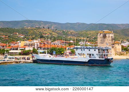Ouranoupolis , Greece - June, 1, 2015: People Near From Ship In Ouranoupolis Port, Harbor In Athos,