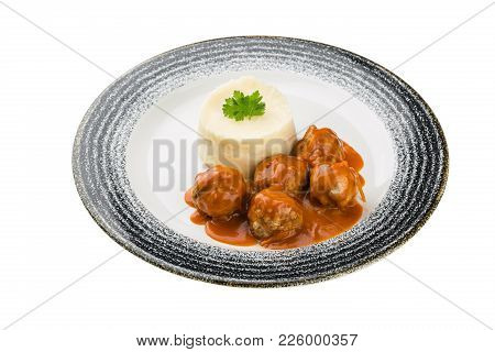 Mashed Potatoes With Meat In A Plate. Isolated On A White Background.
