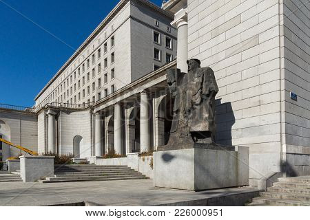 Madrid, Spain - January 21, 2018:  Building And Monument In Front Of Ministry Of Employment And Soci