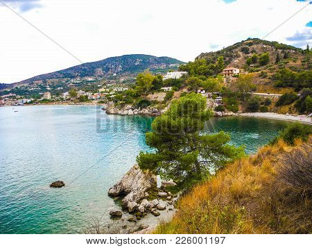Landscape Of The Small Resort Town Of Tolo  And Asini Beach, Peloponnese, Greece.