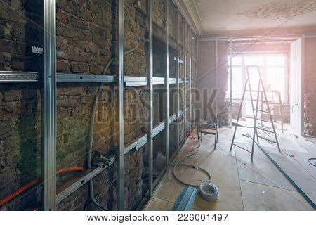 Working Process Of Installing Metal Frames For Plasterboard (drywall) For Making Gypsum Walls With L