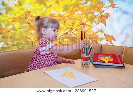 Portrait Of Little Girl With Pencils, Colorizing Maple Leaves...