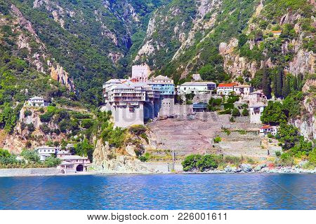 Close Up Orthodox Monastery At Mount Athos, Agion Oros, Holy Mountain, Halkidiki , Greece. View From