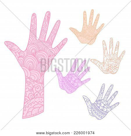 Hand. Arm. Hand Drawn Abstract Patterns On Isolation Background. Design For Spiritual Relaxation For
