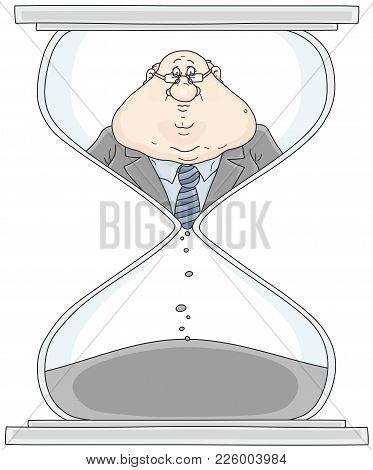 Clerk In A Hourglass. Vector Illustration Of A Functionary In A Sandglass